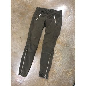J.Brand green zip skinny leg stretch pants Army